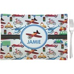Transportation Glass Rectangular Appetizer / Dessert Plate - Single or Set (Personalized)