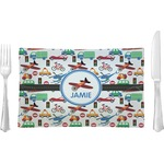 Transportation Glass Rectangular Lunch / Dinner Plate - Single or Set (Personalized)