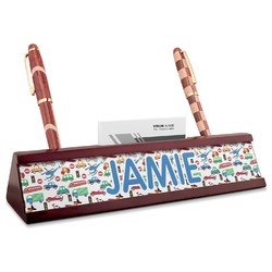 Transportation Red Mahogany Nameplate with Business Card Holder (Personalized)