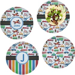 Transportation Set of 4 Lunch / Dinner Plates (Glass) (Personalized)