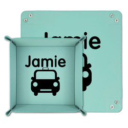 Transportation Teal Faux Leather Valet Tray (Personalized)