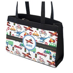 Transportation Zippered Everyday Tote w/ Name or Text