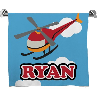 Helicopter Full Print Bath Towel (Personalized)