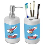 Helicopter Bathroom Accessories Set (Ceramic) (Personalized)