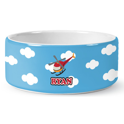 Helicopter Ceramic Pet Bowl (Personalized)