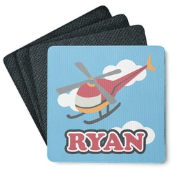 Helicopter 4 Square Coasters - Rubber Backed (Personalized)