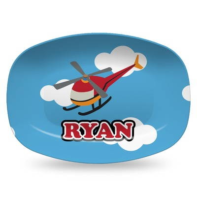 Helicopter Plastic Platter - Microwave & Oven Safe Composite Polymer (Personalized)