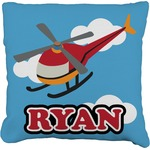 Helicopter Faux-Linen Throw Pillow (Personalized)