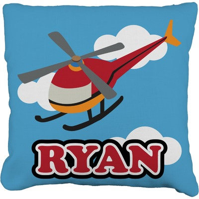 Helicopter Burlap Throw Pillow (Personalized)