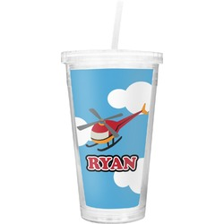 Helicopter Double Wall Tumbler with Straw (Personalized)