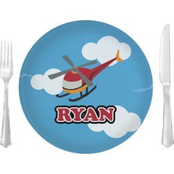 "Helicopter Glass Lunch / Dinner Plates 10"" - Single or Set (Personalized)"