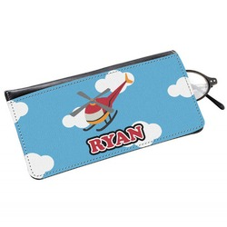 Helicopter Genuine Leather Eyeglass Case (Personalized)