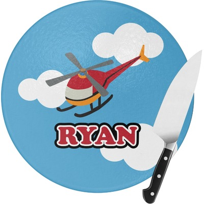 Helicopter Round Glass Cutting Board (Personalized)