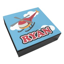 Helicopter Leatherette Keepsake Box - 8x8 (Personalized)