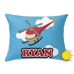 Helicopter Outdoor Throw Pillow (Rectangular) (Personalized)