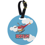 Helicopter Round Luggage Tag (Personalized)