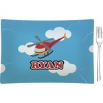 Helicopter Glass Rectangular Appetizer / Dessert Plate - Single or Set (Personalized)