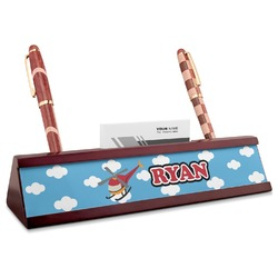 Helicopter Red Mahogany Nameplate with Business Card Holder (Personalized)