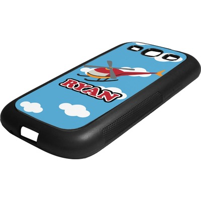 Helicopter Rubber Samsung Galaxy 3 Phone Case (Personalized)