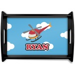 Helicopter Black Wooden Tray (Personalized)