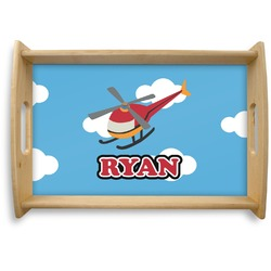 Helicopter Natural Wooden Tray - Small (Personalized)