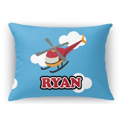 Helicopter Rectangular Throw Pillow Case (Personalized)