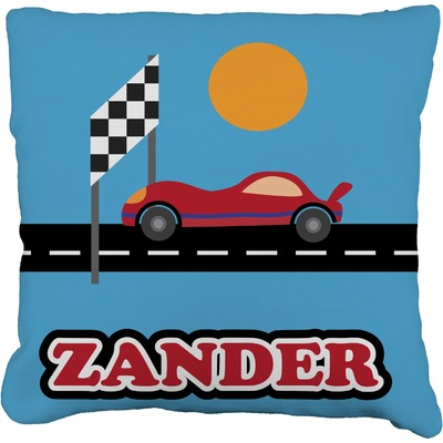 Race Car Faux-Linen Throw Pillow (Personalized)