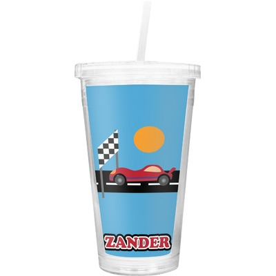 Race Car Double Wall Tumbler with Straw (Personalized)