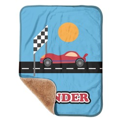 """Race Car Sherpa Baby Blanket 30"""" x 40"""" (Personalized)"""
