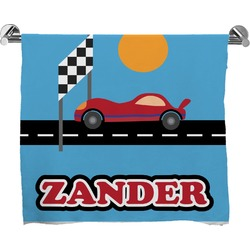 Race Car Full Print Bath Towel (Personalized)