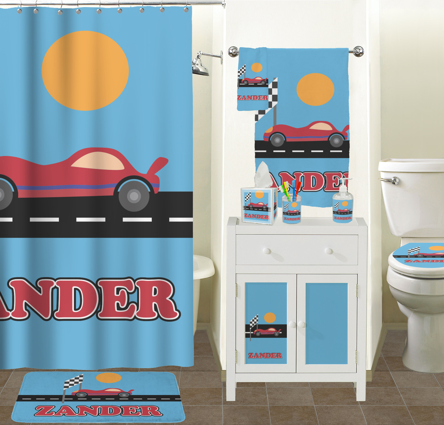 Race car hand towel full print personalized for Race car shower curtain