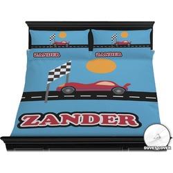 Race Car Duvet Cover Set - King (Personalized)