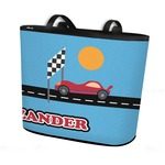 Race Car Bucket Tote w/ Genuine Leather Trim (Personalized)