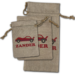 Race Car Burlap Gift Bags (Personalized)