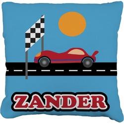 "Race Car Faux-Linen Throw Pillow 16"" (Personalized)"