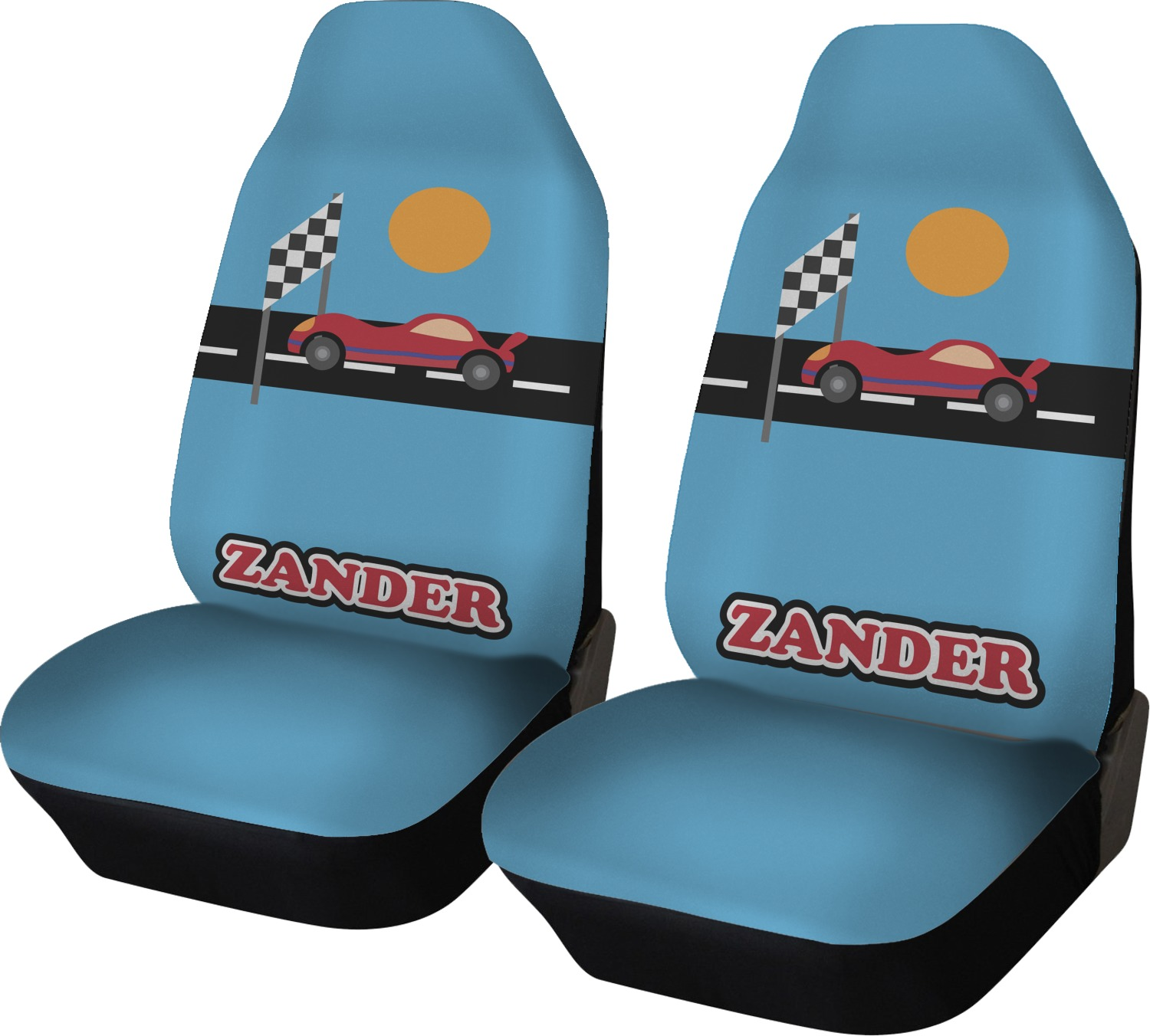 Race Car Seat Covers Set Of Two Personalized