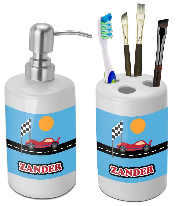 Race Car Bathroom Accessories Set Ceramic Personalized Youcustomizeit