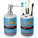 Race Car Bathroom Accessories Set (Ceramic) (Personalized)