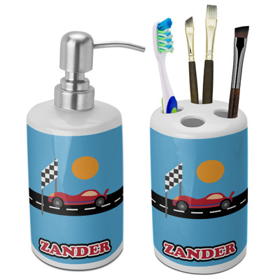 Race Car Bathroom Accessories Set (Ceramic) (Personalized)