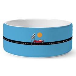 Race Car Ceramic Dog Bowl (Personalized)