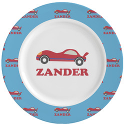 Race Car Ceramic Dinner Plates (Set of 4) (Personalized)