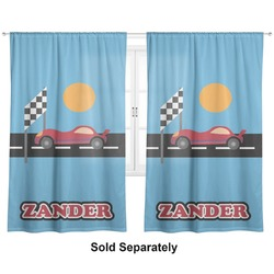 "Race Car Curtains - 20""x84"" Panels - Lined (2 Panels Per Set) (Personalized)"