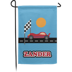 Race Car Garden Flag With Pole (Personalized)