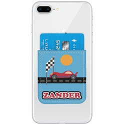 Race Car Genuine Leather Adhesive Phone Wallet (Personalized)