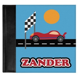 Race Car Genuine Leather Baby Memory Book (Personalized)