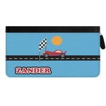 Race Car Genuine Leather Ladies Zippered Wallet (Personalized)