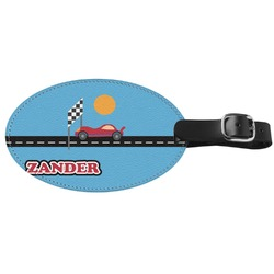 Race Car Genuine Leather Luggage Tag (Personalized)