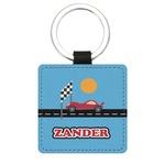Race Car Genuine Leather Rectangular Keychain (Personalized)