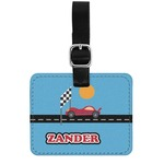 Race Car Genuine Leather Rectangular  Luggage Tag (Personalized)