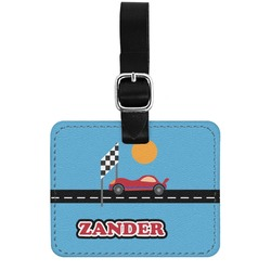 Race Car Genuine Leather Luggage Tag w/ Name or Text